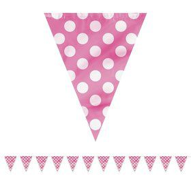 Hot Pink Dots 12' Flag Banner Decoration (Each)