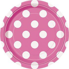 "Hot Pink Dots 7"" Cake Plates (8 Pack)"