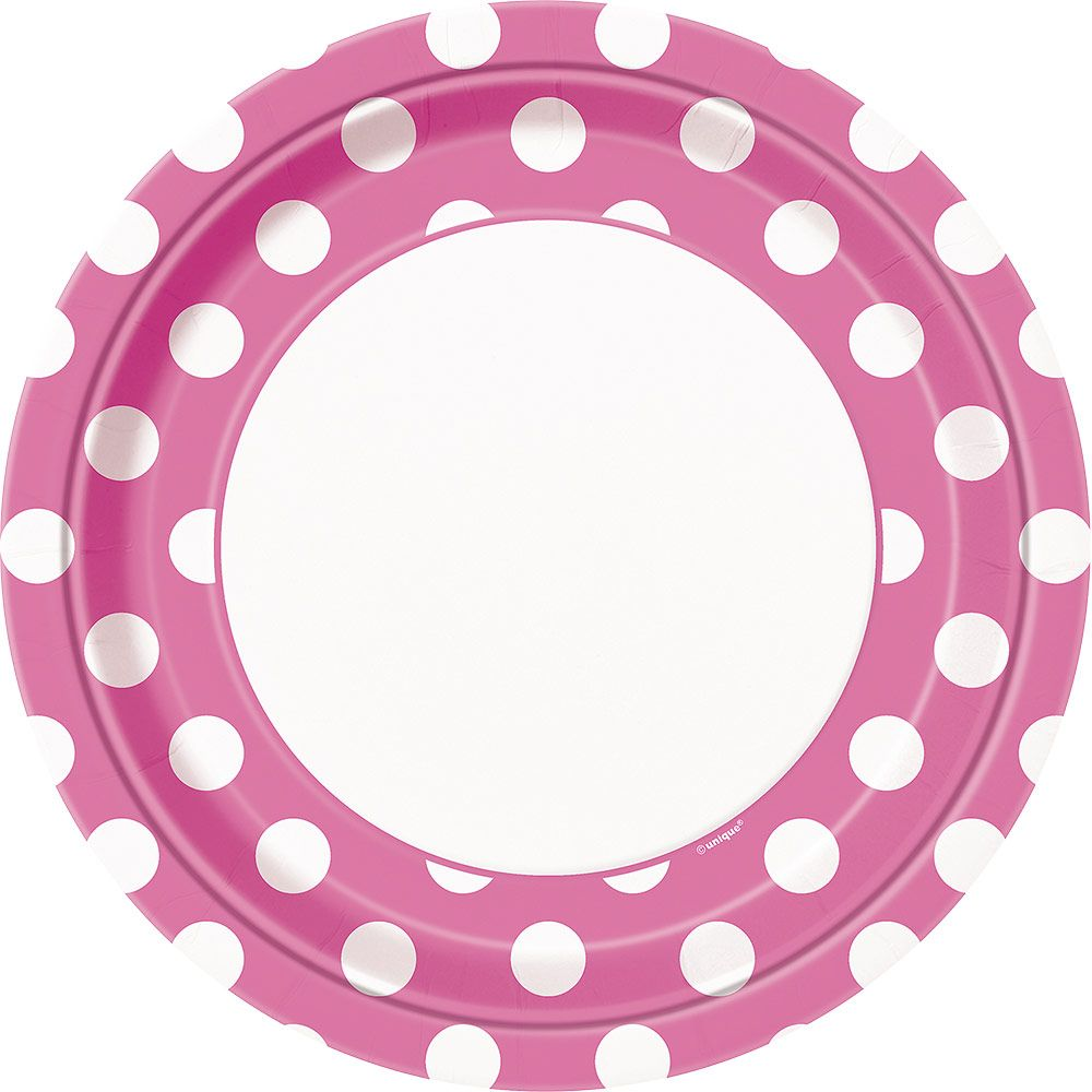 """Hot Pink Dots 9"""" Luncheon Plates (8 Pack) BB37485"""
