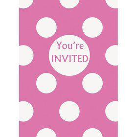 Hot Pink Dots Invitations (8 Pack)