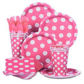 Hot Pink Dots Standard Tableware Kit Serves 8