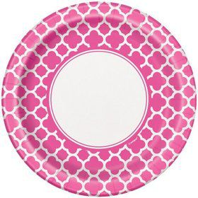 "Hot Pink Quatrefoil 9"" Luncheon Plates (8 Pack)"