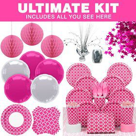 Hot Pink Quatrefoil Party Ultimate Tableware Kit Serves 16