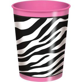 Hot Pink Zebra 16oz Plastic Cup (Each)