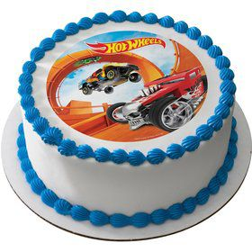 "Hot Wheels 7.5"" Round Edible Cake Topper (Each)"