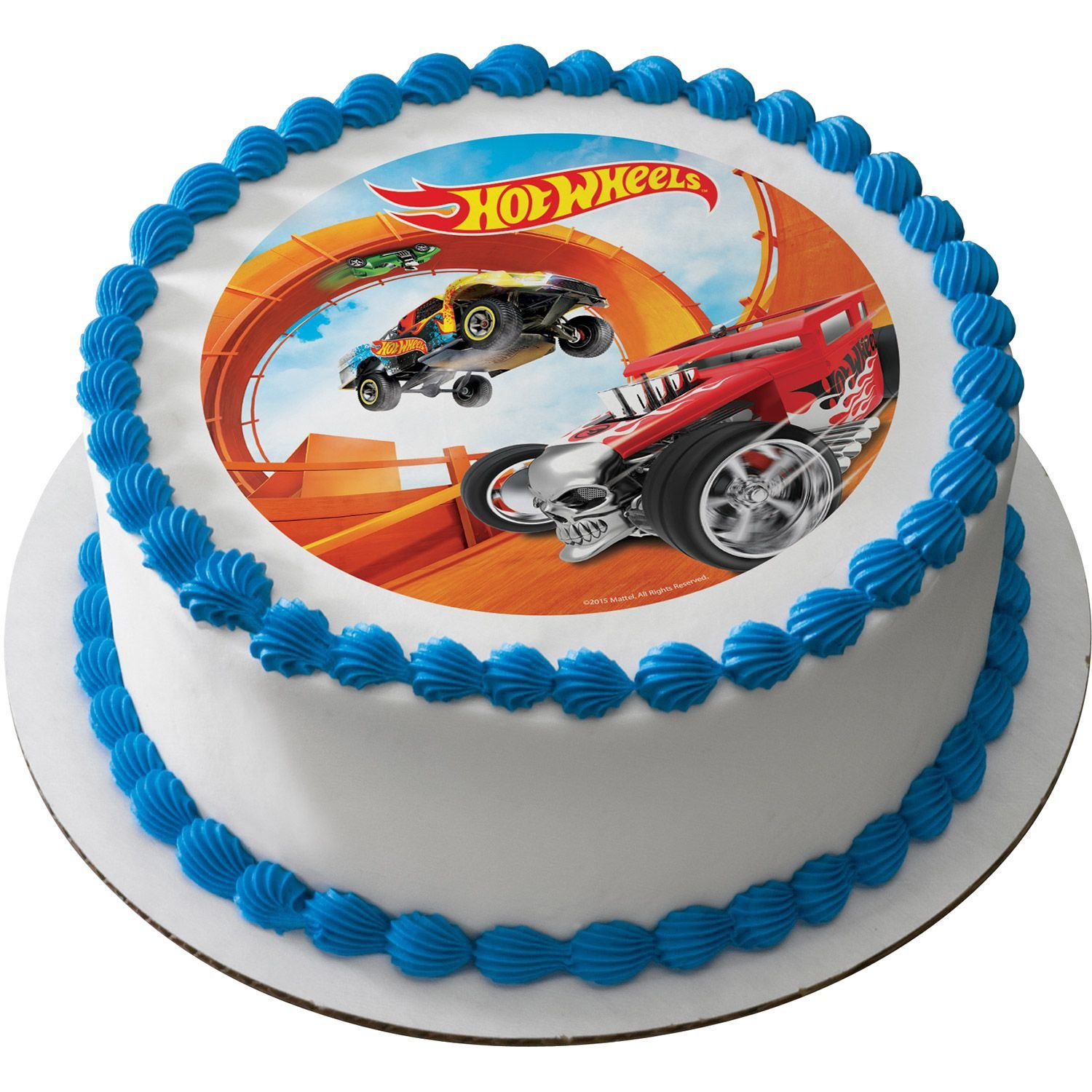 Astonishing Hot Wheels 7 5 Round Edible Cake Topper Cooking Kits Funny Birthday Cards Online Chimdamsfinfo