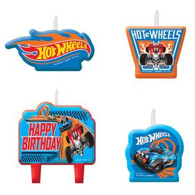 Hot Wheels Wild Racer Birthday Candle Set (Set of 4)
