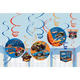 Hot Wheels Wild Racer Foil Swirl Decorations (12 Pieces)