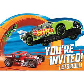 Hot Wheels Wild Racer Postcard Birthday Party Invitations (8 Count)