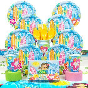 Hula Beach Birthday Party Deluxe Tableware Kit Serves 8