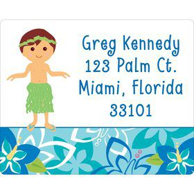 Hula Boy Personalized Address Labels (Sheet of 15)