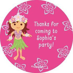 Hula Girl Personalized Stickers (sheet of 12)