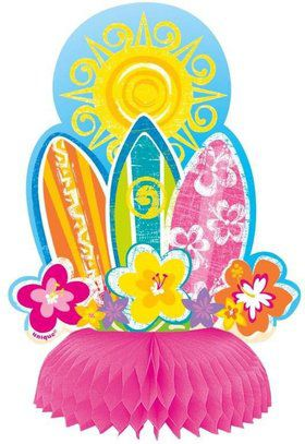 "Hula Party 6"" Honeycomb Table Decorations (4 Pack)"