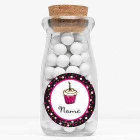 "I love Cake Personalized 4"" Glass Milk Jars (Set of 12)"