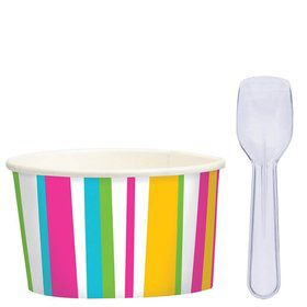 Ice Cream Cups and Spoons Set (16 Pack)