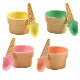 Ice Cream Dish With Spoon (each)