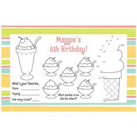 Ice Cream Party Personalized Activity Mats (8-Pack)