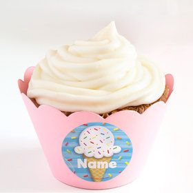 Ice Cream Personalized Cupcake Wrappers (Set of 24)