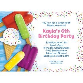 Ice Cream Personalized Invitation (Each)
