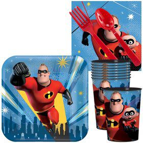Incredibles 2 Standard Tableware Kit With Plastic Favor Cups (Serves 8)