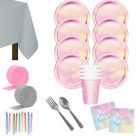 Iridescent Happy Birthday Deluxe Tableware Kit (Serves 8)