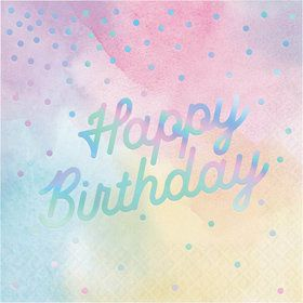 Iridescent 'Happy Birthday' Luncheon Napkin (16)