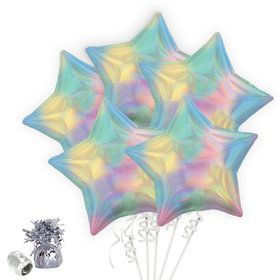 Iridescent Pastel Rainbow Star Balloon Bouquet Kit