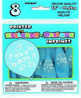 "It's a Boy 12"" Latex Balloons (8 Pack)"