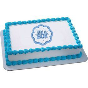 It's a Boy Quarter Sheet Edible Cake Topper (Each)