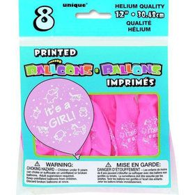 "It's a Girl 12"" Latex Balloons (8 Pack)"
