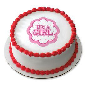 "It's a Girl 7.5"" Round Edible Cake Topper (Each)"