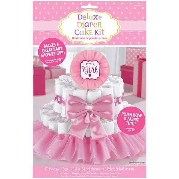 Cake Decorating Kits For Baby Shower : It s a Girl Pink Baby Shower Diaper Cake Decorating Kit ...
