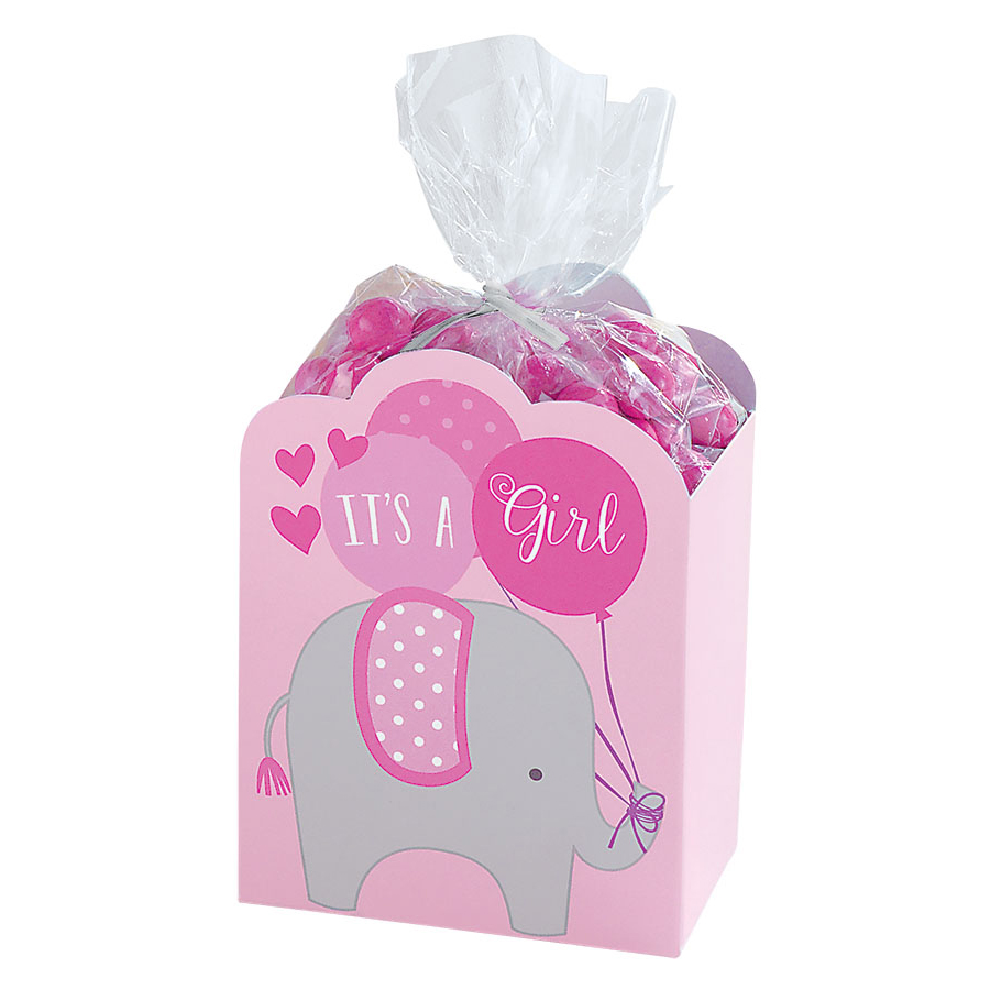 it 39 s a girl pink baby shower elephant favor boxes 8 count ebay