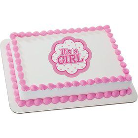 It's a Girl Quarter Sheet Edible Cake Topper (Each)