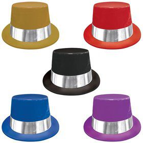"Jewel Tone 5"" Plastic Top Hats (10 Pack)"