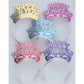 Jewel Tone New Years Glitter Tiaras (12 Pack)