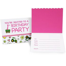 John Deere Pink 1st Birthday Invitations (8 Count)