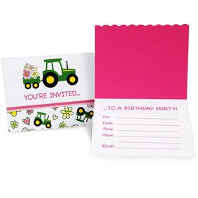 John Deere Pink Invitations (8 Count)