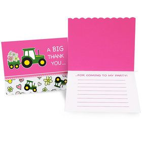 John Deere Pink Thank You Notes (8 Count)