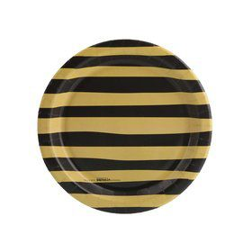 Joy to the World Gold Black Stripe Dessert Plate (8)