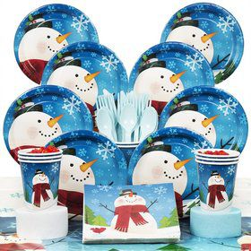 Joyful Snowman Party Deluxe Tableware Kit Serves 8