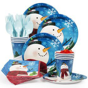 Joyful Snowman Party Standard Tableware Kit Serves 8
