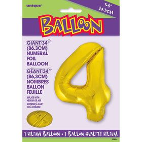 Jumbo Gold Foil Balloon-Number 4