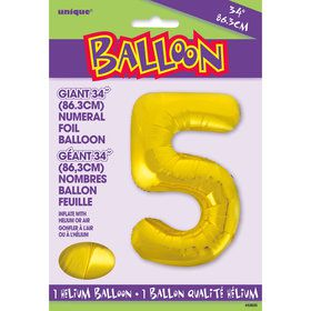 Jumbo Gold Foil Balloon-Number 5