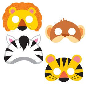 Jungle Animal Masks (8 Count)