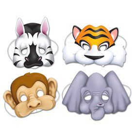 Jungle Animal Paper Masks (4 Pack)