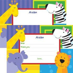 Jungle Animals Personalized Thank You Note (each)