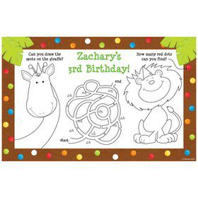 Jungle Birthday Personalized Activity Mat (8 pack)