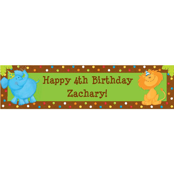 Jungle Birthday Personalized Banner - Party Supplies BB101772
