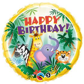 "Jungle Friends Birthday 18"" Balloon (Each)"